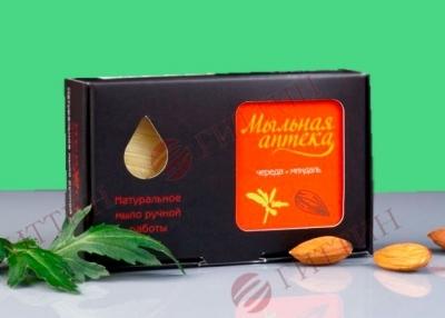 Мыло натуральное ЧЕРЕДА с маслом сладкого миндаля в упаковке. (Мыльная аптека)