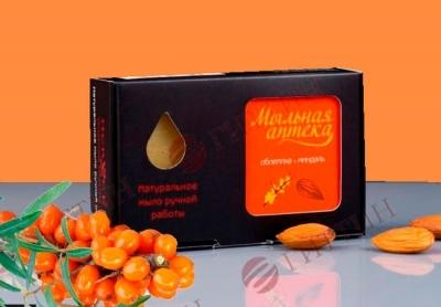 Мыло натуральное ОБЛЕПИХА с маслом сладкого миндаля в упаковке. (Мыльная аптека)
