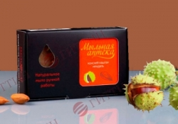 Мыло натуральное КОНСКИЙ КАШТАН с маслом сладкого миндаля в упаковке. (Мыльная аптека)
